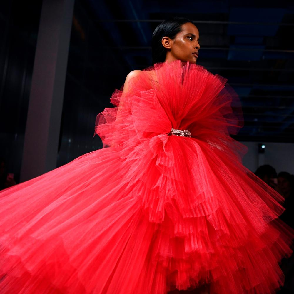 Belted red tulle dress at Giambattista Valli