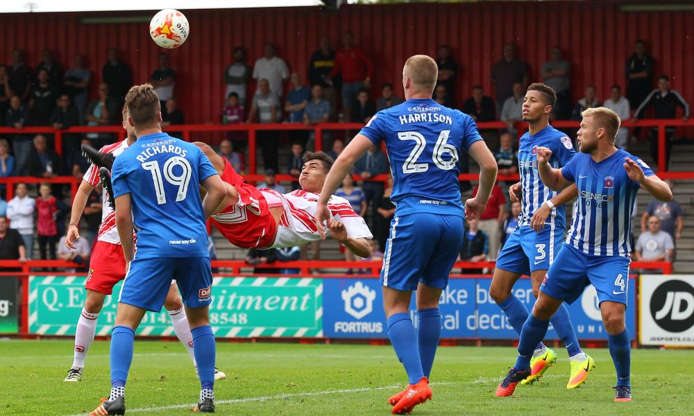 Tyler Walker of Stevenage scores with an acrobatic overhead kick against Hartlepool.