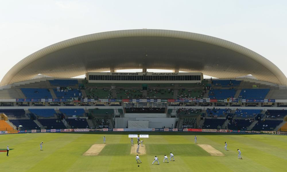 England's Ben Stokes bowls during the first Test against Pakistan at Sheikh Zayed Stadium, Abu Dhabi.