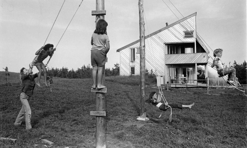 Children play outside the ark for Prince Edward Island in 1976.