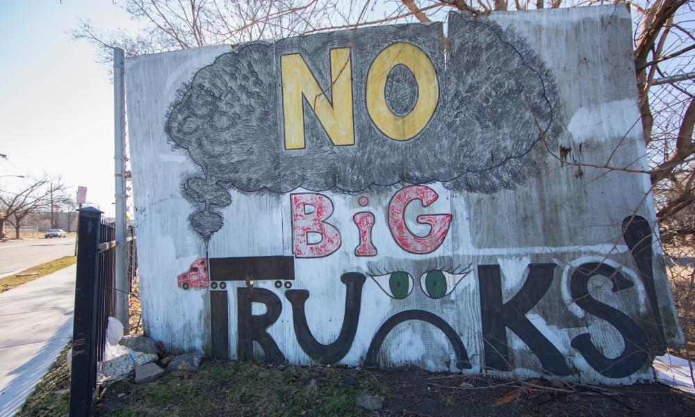 A mural in the Waterfront South area of Camden. Residents of Waterfront South have fought to reroute truck traffic away from their neighborhood.