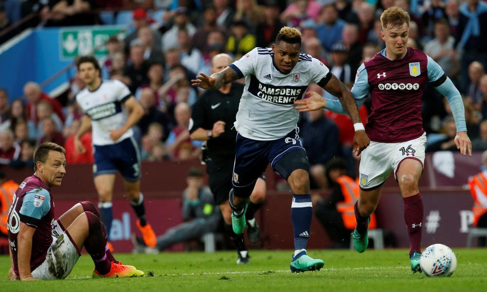 Middlesbrough's Britt Assombalonga surges forward.