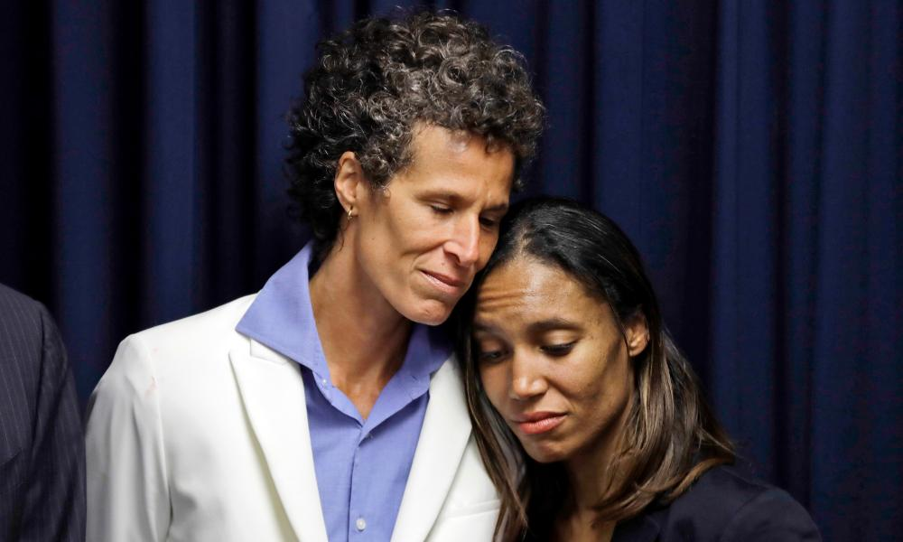 Bill Cosby accuser Andrea Constand, left, embraces prosecutor Kristen Feden during a news conference after Cosby was found guilty.