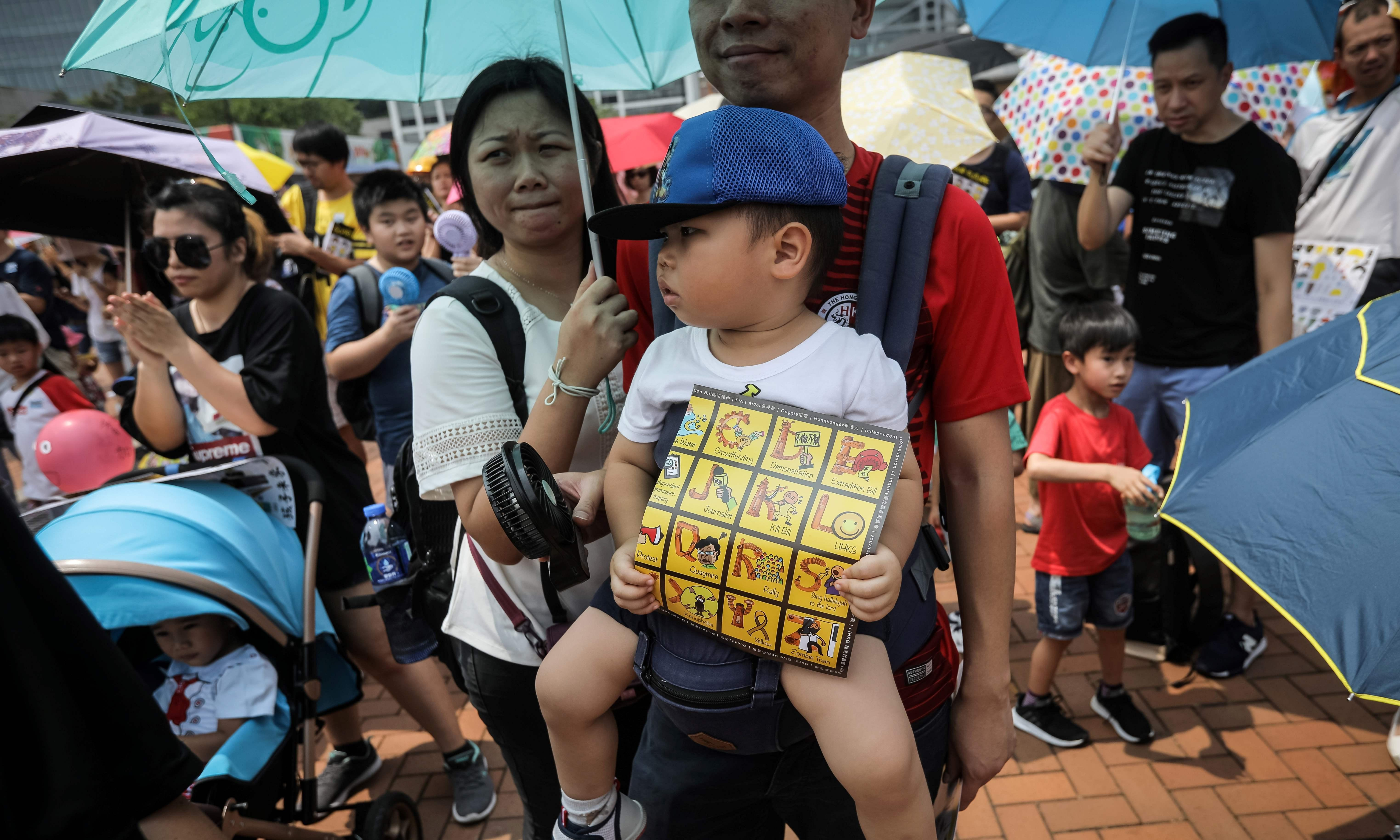 'P is for protest': Hong Kong families take to the streets in pro-democracy rally