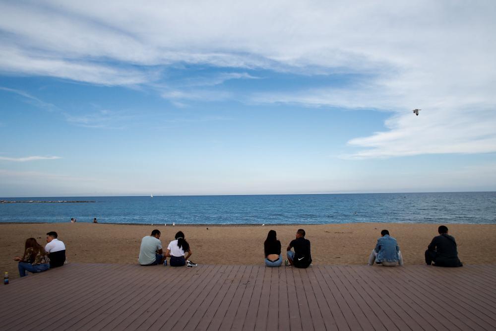 La Barceloneta beach in Barcelona.