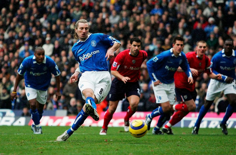 Robbie Savage scores from the penalty spot against West Brom in 2004.