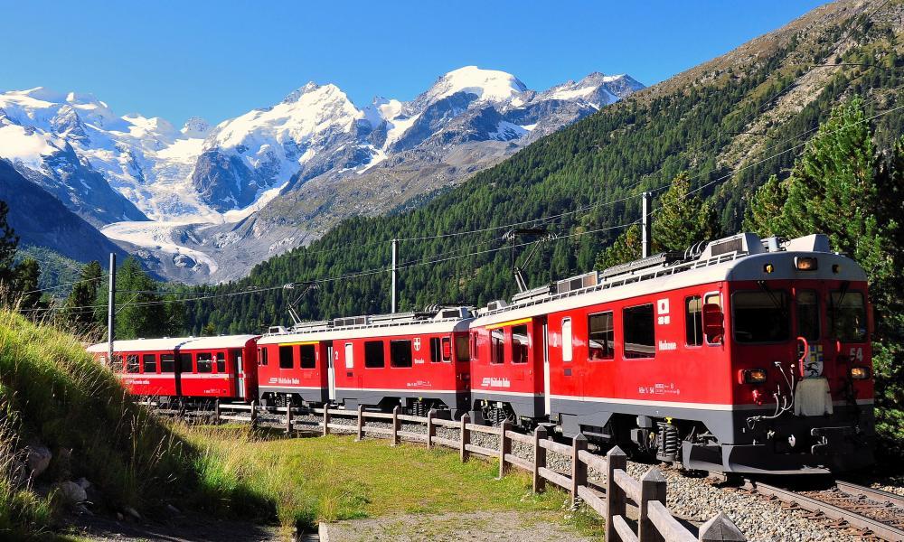 Making tracks: the Bernina Express, winding its way through the high Alps.