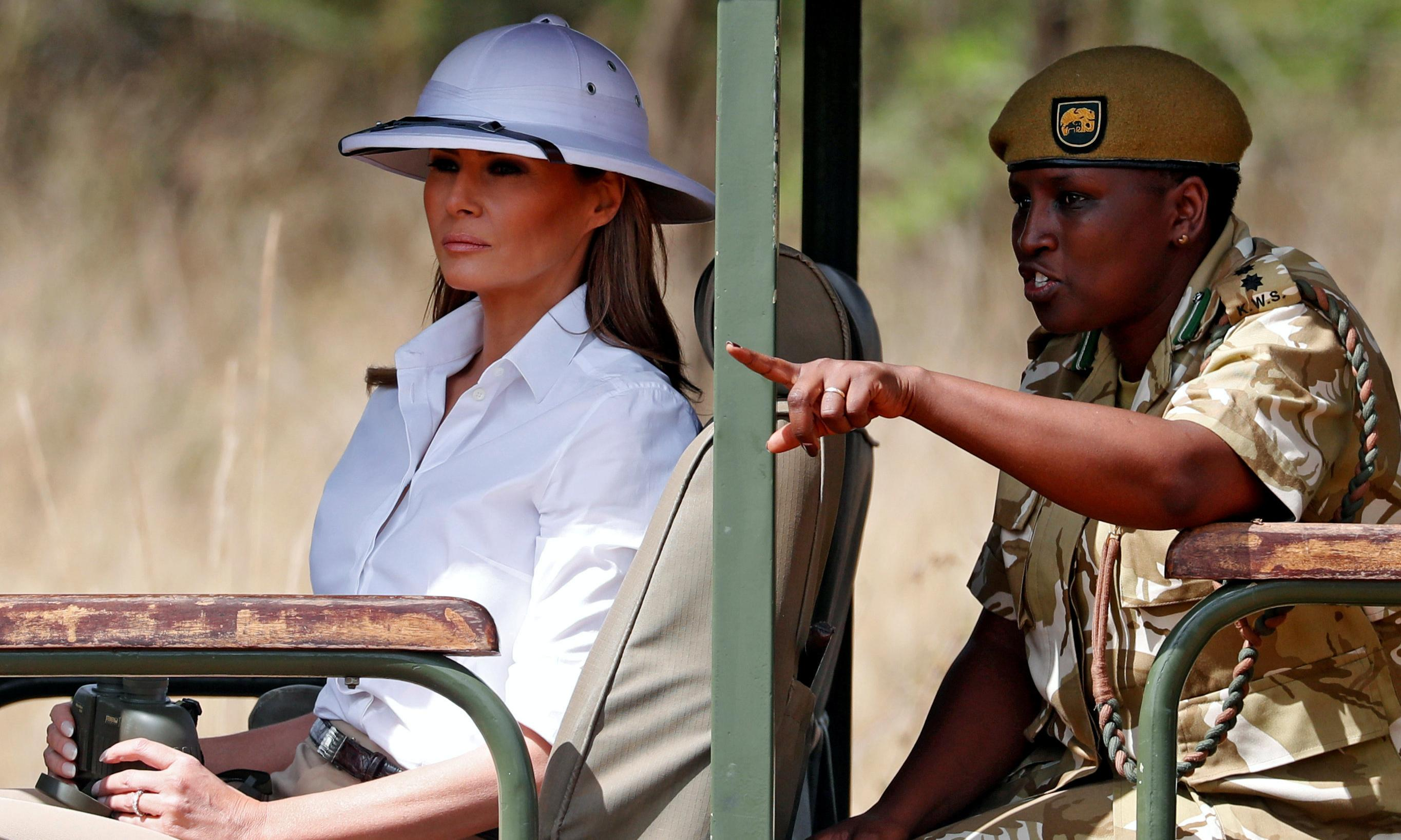 Melania Trump criticised for wearing colonial-style hat during Kenyan safari