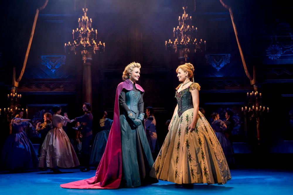 Samantha Barks (Elsa) and Stephanie McKeon (Anna) in Frozen.