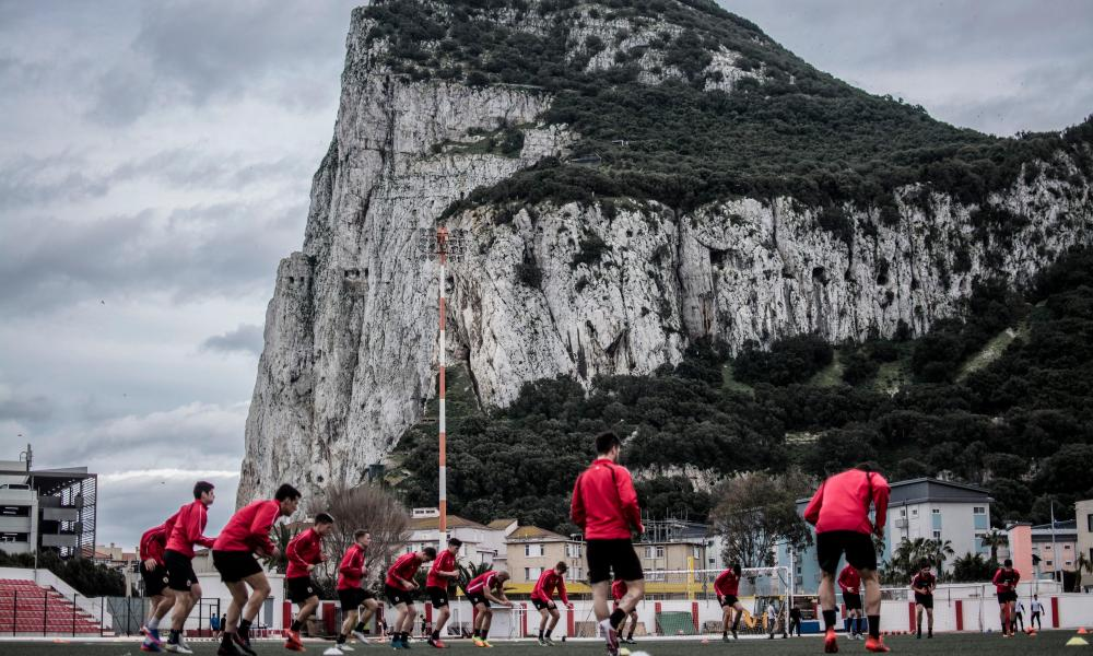 The Gibraltar national squad train in the shadow of the rock.