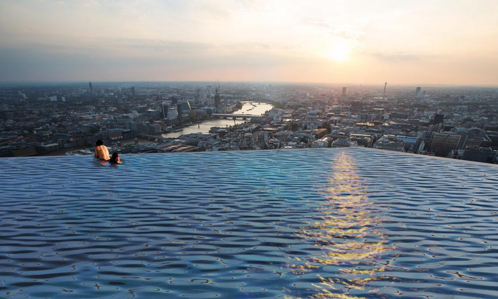 Pool with a view ... swimmers could look out over London