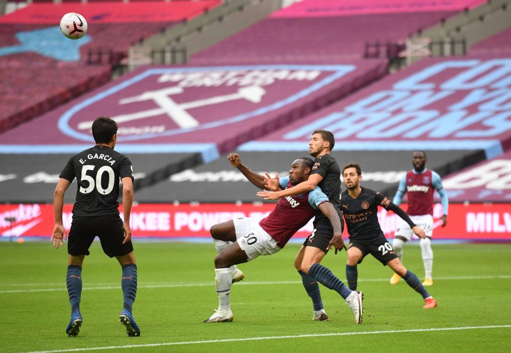 West Ham United's Michail Antonio eyes the ball as it heads in his direction before opening the scoring in fine style.