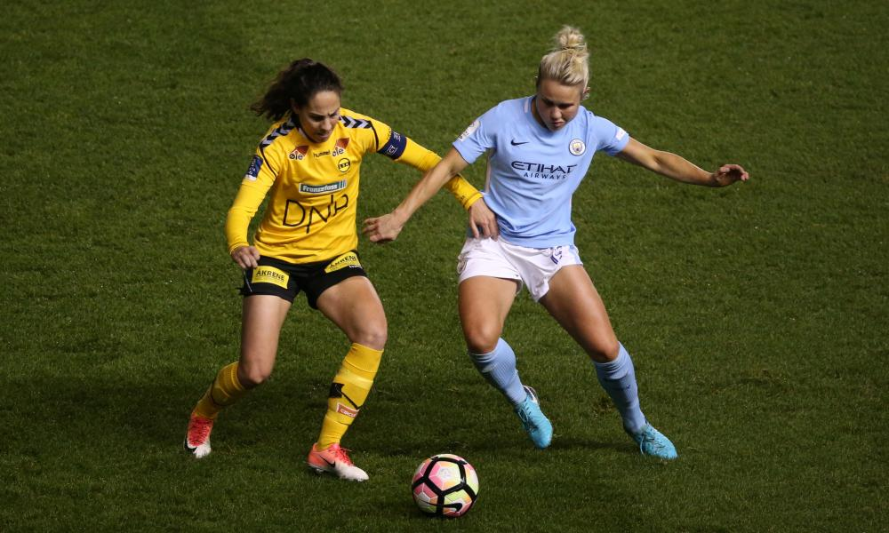 Manchester City's Izzy Christiansen, right, battles for possession during the win at home to LSK Kvinner.