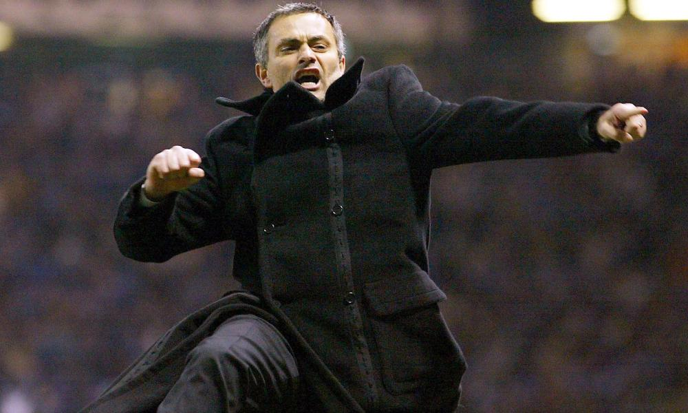 Mourinho charges down the Old Trafford touchline after knocking Manchester United out of the Champions League as Porto manager in 2004