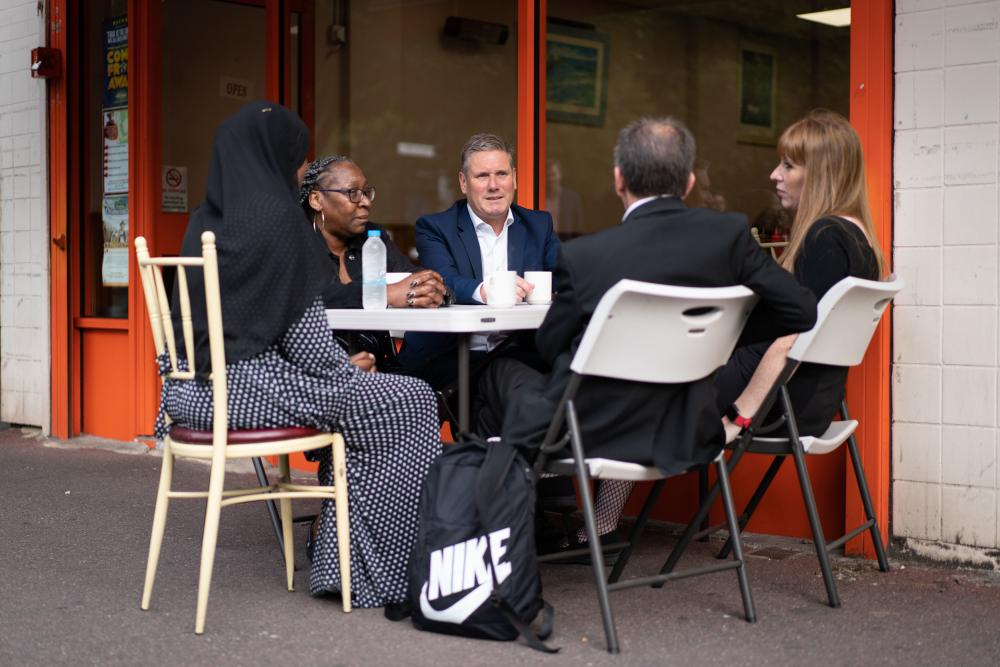 Keir Starmer and Angela Rayner visiting Bermondsey this morning to discuss the health and social care levy with workers.