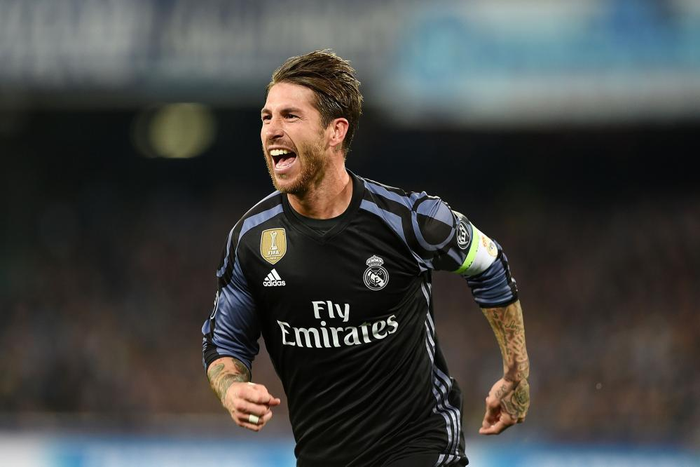 Sergio Ramos of Real Madrid celebrates after their second goal.