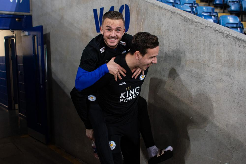 December 8: James Maddison of Leicester City is given a piggy-back before playing Tottenham.