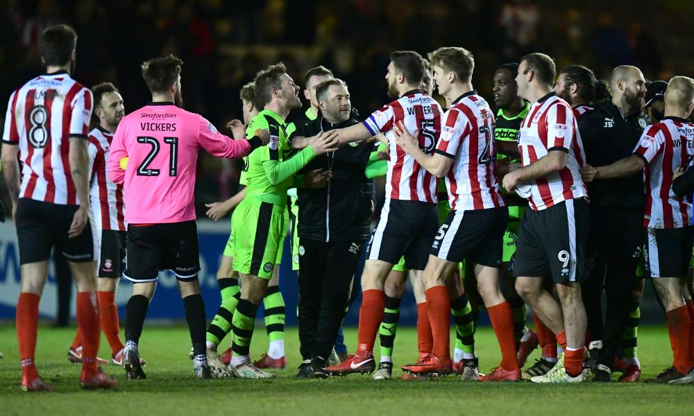 Tempers flared at full-time after Lincoln beat Forest Green.