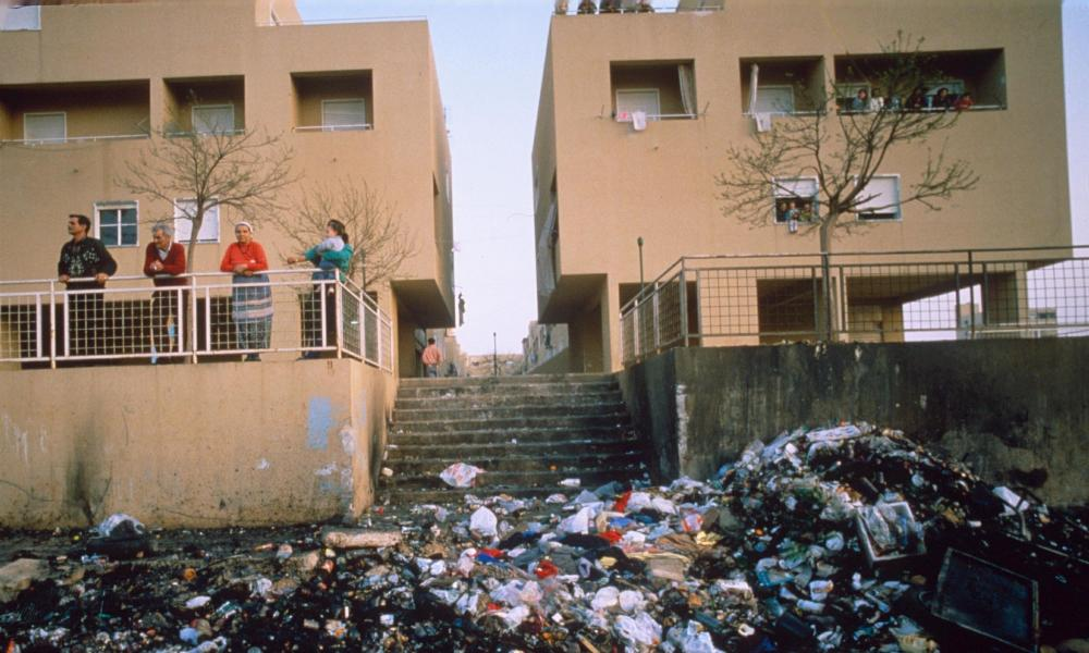 Rubbish dumped on the streets of Palermo's Brancaccio district in 1992.
