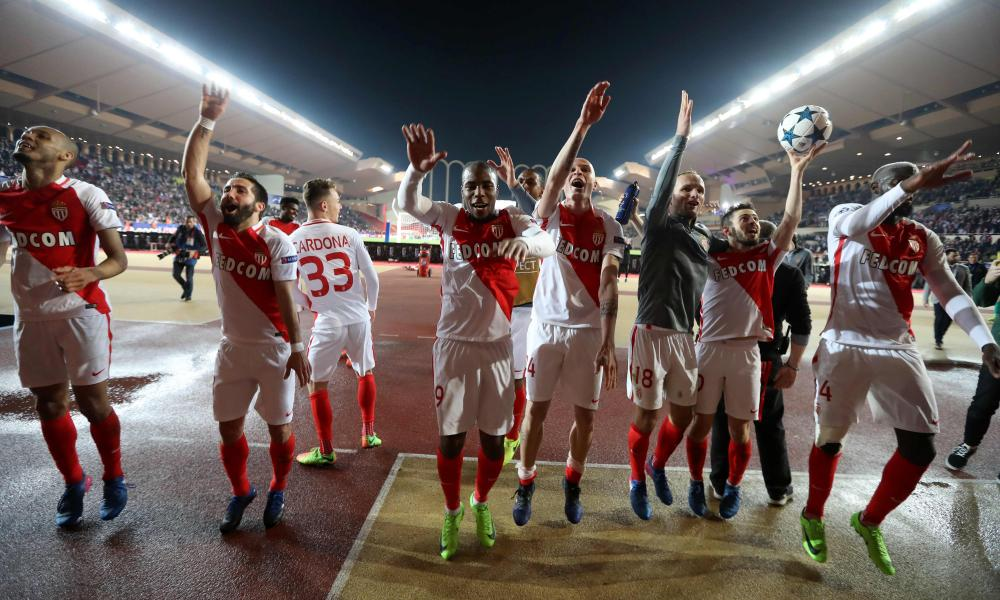 Monaco's players celebrate after the final whistle.