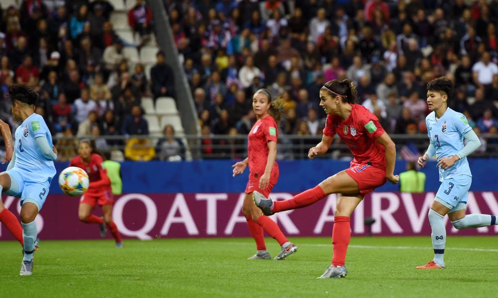 Alex Morgan of the US lashes home their twelfth.