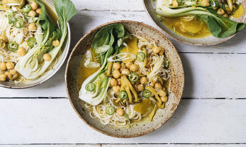 Hetty McKinnon's noodles in ginger turmeric broth recipe