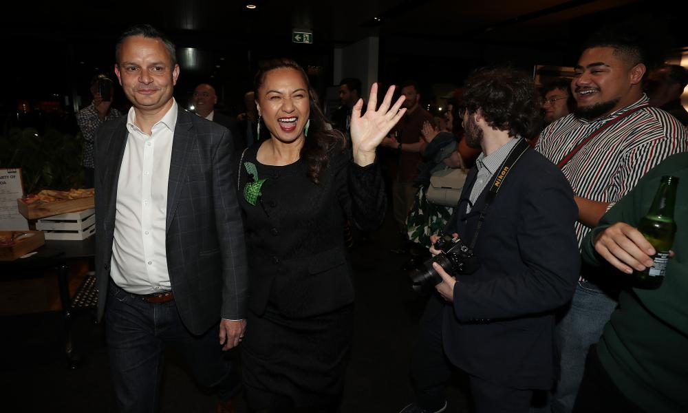 Greens Party co-leader Marama Davidson and co-leader James Shaw