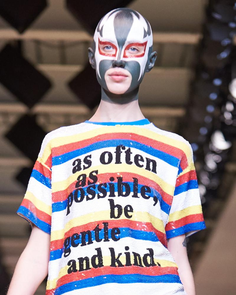 A model wearing a design by Ashish.