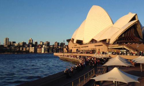 Sydney's Opera Bar at sunset, 2014.