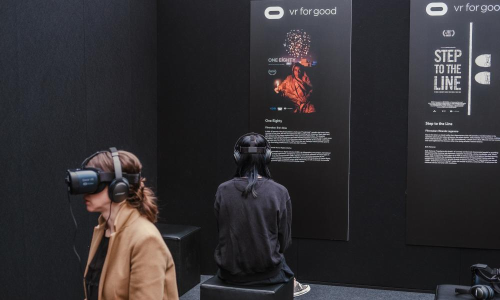 Skoll World Forum 2018Oxford, England. April 11th 2018. The VR For Good stall at the 2018 Skoll World Forum in Oxford. Alex Atack for The Guardian/GuardianLabs