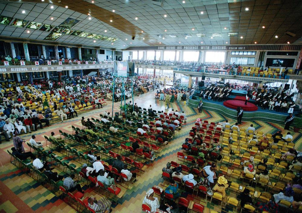 A service at the Synagogue, Church of all Nations, with pastor TB Joshua and his associates.