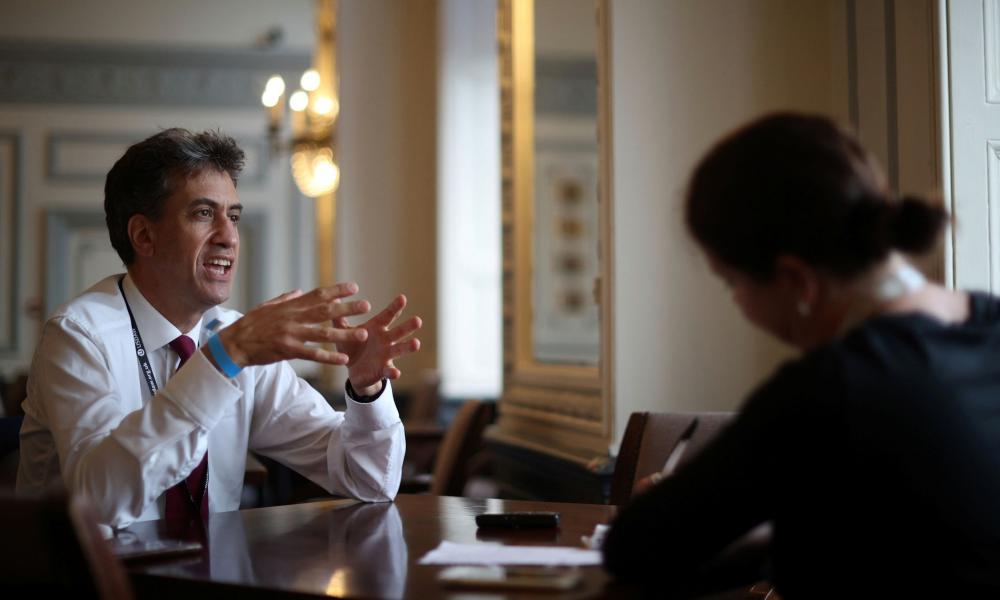 Ed Miliband in conversation in Brighton