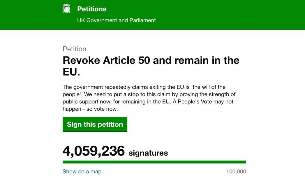 More than 4 million sign Brexit petition to revoke article 50