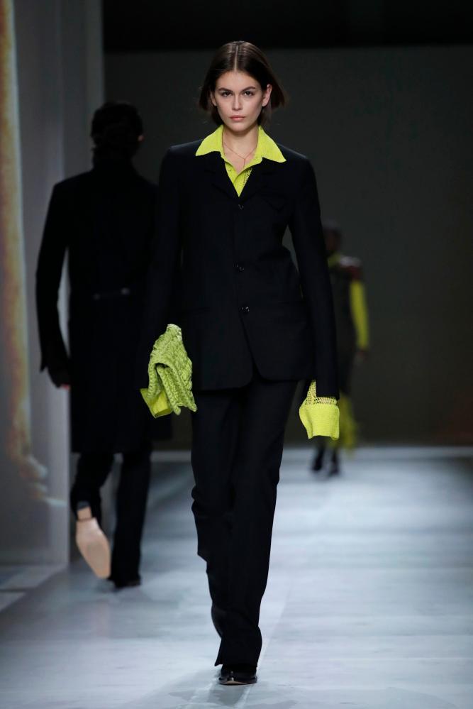 Kaia Gerber wearing a design from Daniel Lee's latest Bottega Veneta collection on the Milan catwalk on Saturday.