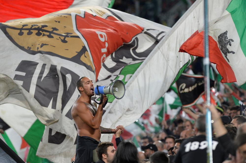 Juventus fans during the win over Fiorentina.