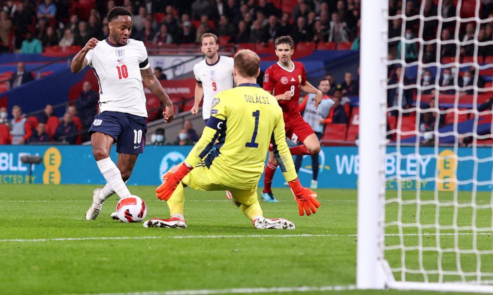 England's Raheem Sterling is denied by Hungary goalkeeper Peter Gulacsi.
