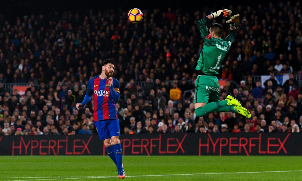 Lionel Messi's looping header opens the scoring.