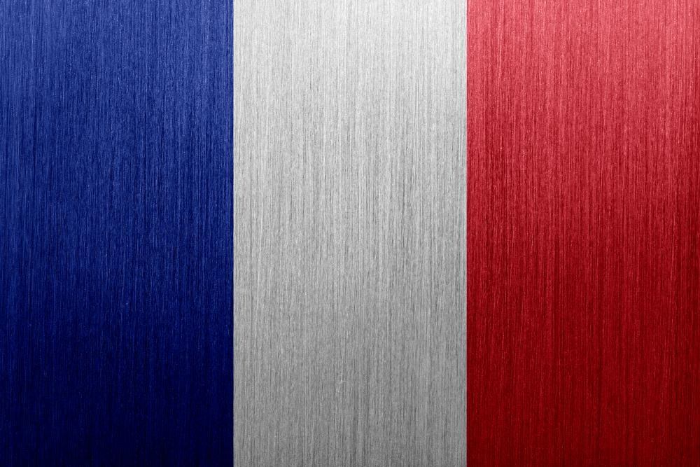 French Tricolore FlagThe french Tricolore flag on a brushed metal backgound