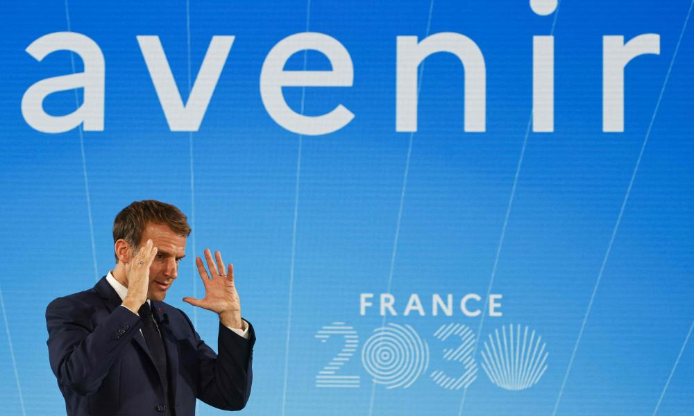 Emmanuel Macron gestures during the presentation of his France 2030 investment plan at the Elysée in Paris