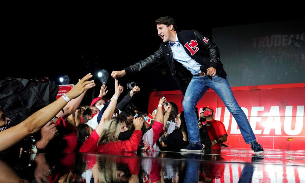 Justin Trudeau at an election campaign rally in Oakville, Ontario.