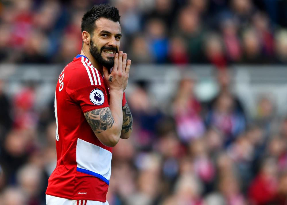 Alvaro Negredo of Middlesbrough reacts to missing a chance