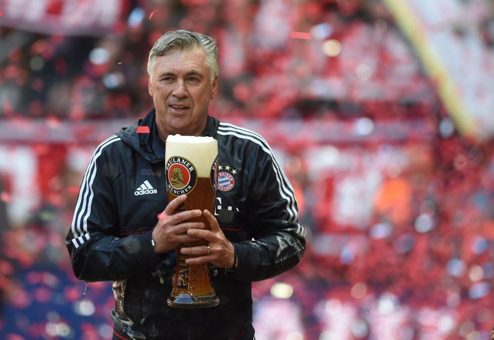Cheers Carlo! Bayern Munich manager Ancelotti celebrates another domestic league title.