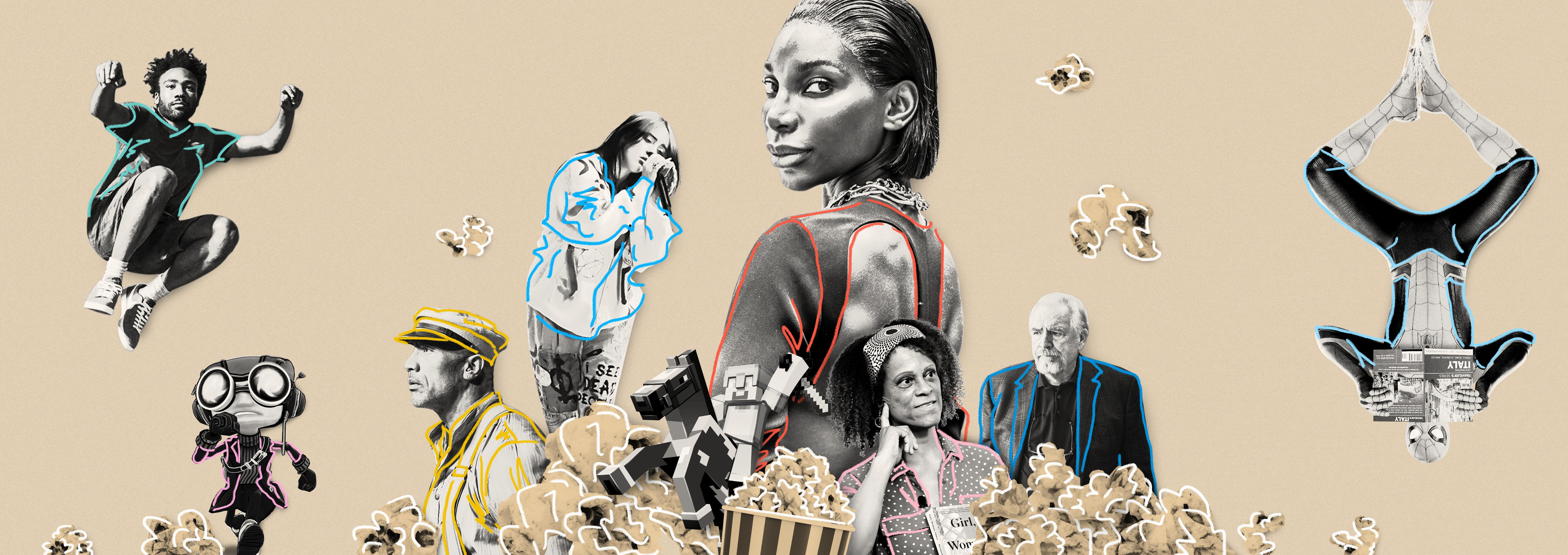 Digital collage featuring Michaela Coel, Brian Cox, the Rock, Billie Eilish and Donald Glover
