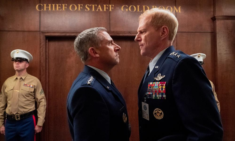Steve Carell and Noah Emmerich in Space Force.
