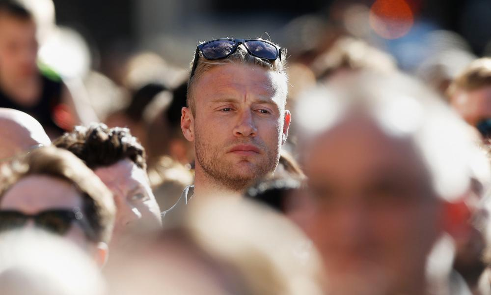 Manchester Arena incident Former England cricket captain Andrew 'Freddie' Flintoff in the crowd ahead of a vigil in Albert Square