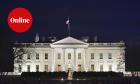 Photo shows the White House after sunset in Washington, DC.