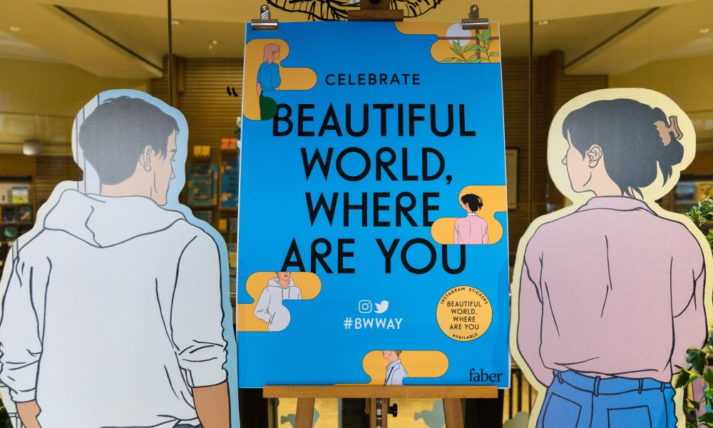A retail display for Beautiful World, Where Are You  at Waterstones  in Piccadilly, London.