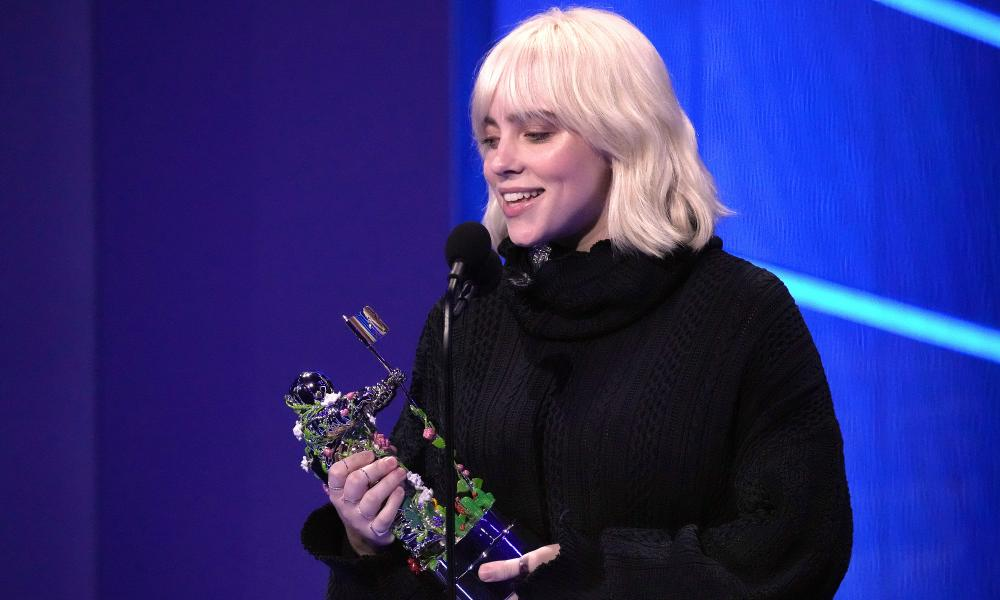 Billie Eilish accepts an award for Video For Good onstage during the 2021 MTV Video Music Awards.