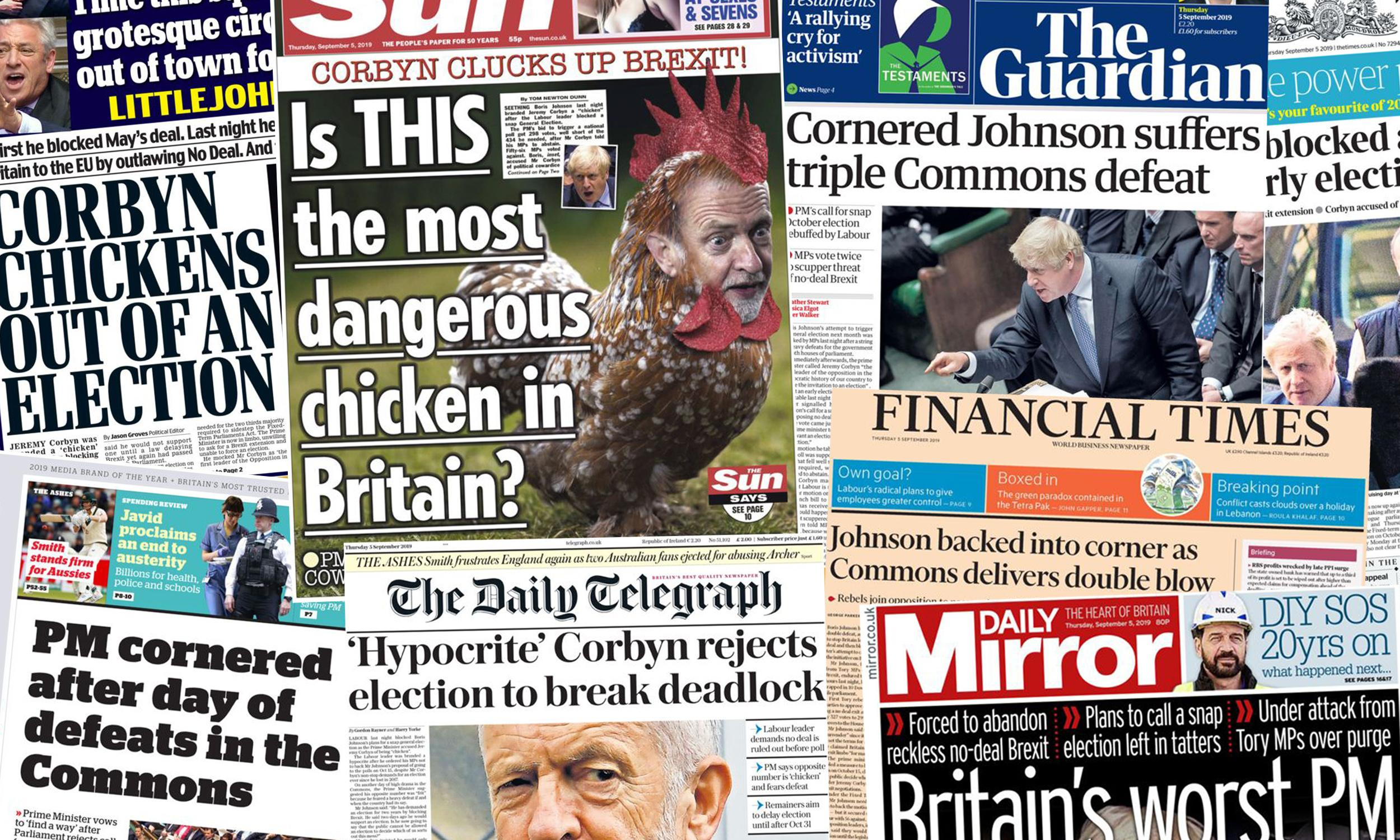 'PM cornered': how the papers covered Johnson's horror day in Commons
