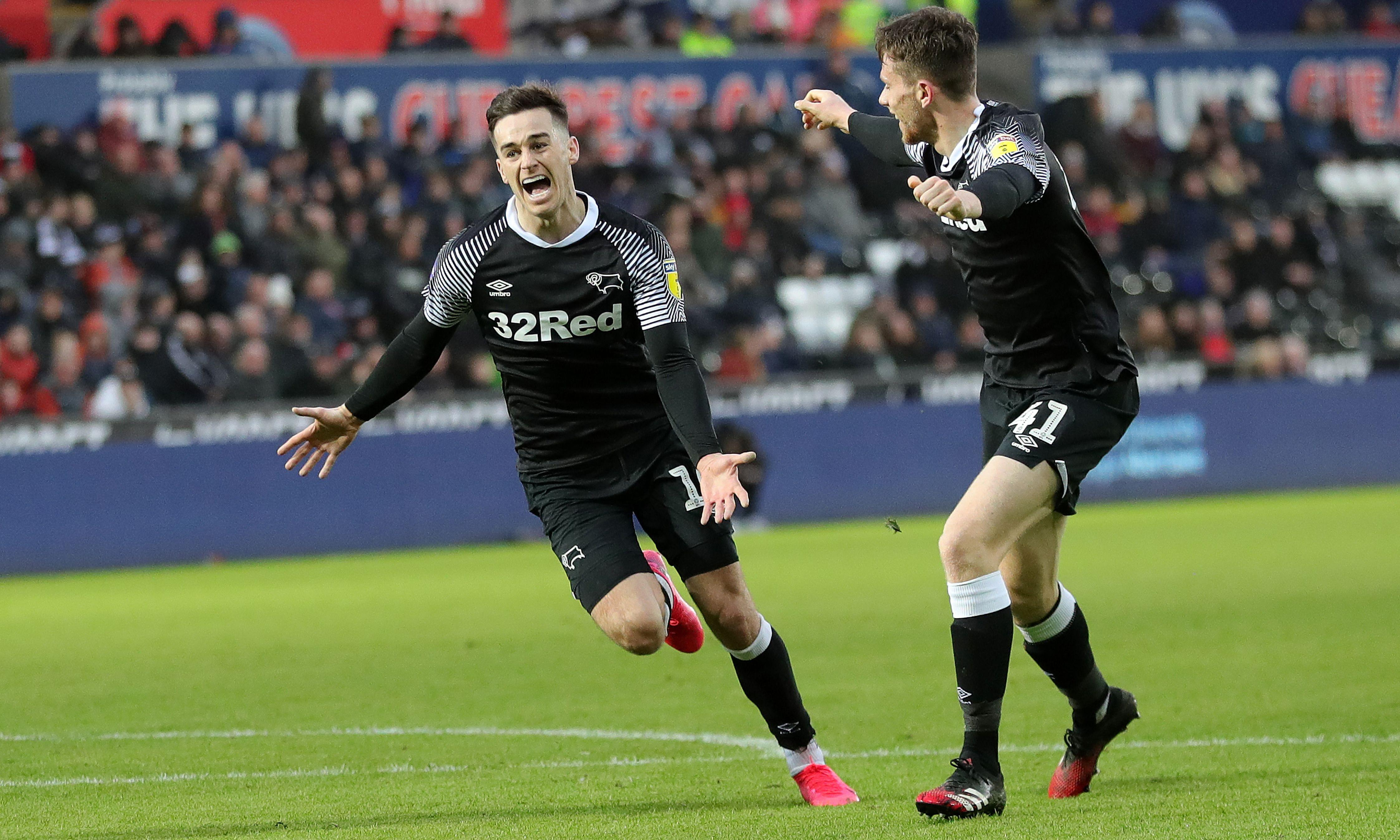 Tom Lawrence completes fightback for upwardly mobile Derby against Swansea
